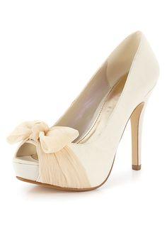 Donovan Bow Satin Wedding Shoes - Ivory