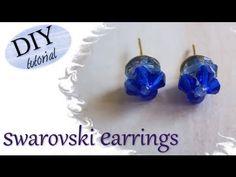 Tutorial: Realizzare in modo semplice orecchini a perno eleganti con fiori in swarovski blu oceano - YouTube