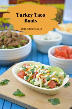 Nothing beats chips, dip and delicious tacos. Tacos just go so well with my family. They are quick, easy, delicious and fully customizable. #tacos #turkeytacos #tacoboats #dinner #domesticdee @domestic_dee | domesticdee.com