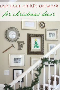 love this - using childrens artwork for fun and cute Christmas wall decor