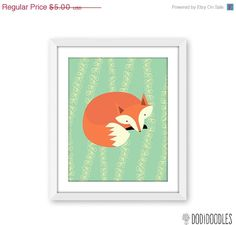 65% OFF SALE Fox Printable 8x10 Art Print Instant by dodidoodles