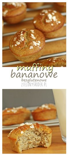 moist banana muffins with almonds and oat flakes. gluten-free (when . Healthy Sweets, Healthy Snacks, Healthy Recipes, Gluten Free Cakes, Gluten Free Recipes, Moist Banana Muffins, Always Hungry, Sweet Desserts, Finger Foods