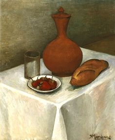 Jean Hippolyte Marchand Still Life with Earthenware Jug, Loaf and Strawberries 1918-19