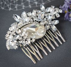 LUNET, Vintage Style Bridal Hair Comb, Crystal Rhinestone and Pearl Wedding Hair Comb, Wedding Hair Accessories, Ivory, White Pearl Comb on Etsy, $68.00