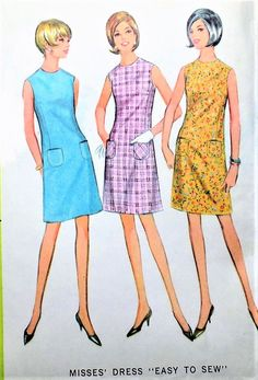 1960s CUTE Mod Shift Dress Pattern Easy To Sew McCALLS 8654 Three Style Versions Bust 34 Vintage Sewing Pattern UNCUT
