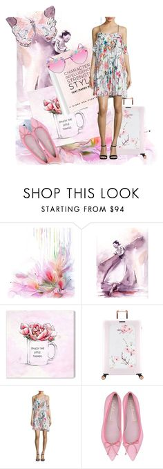 """""""Flutter By"""" by jndskiddo ❤ liked on Polyvore featuring Post-It, Oliver Gal Artist Co., Ted Baker, Delfi Collective, Spring, floral and Flowers"""