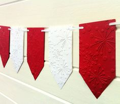 Snowflake Sunburst Embossed Birthday Party Banner/Garland. Red and White Christmas bunting.