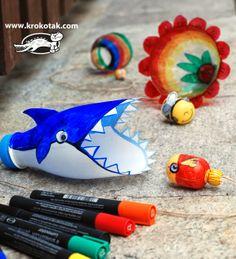 Bilboquê de sucata- Tubarão engole peixe - Blog Cantinho Alternativo