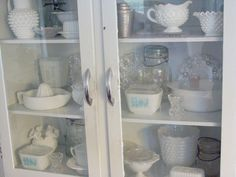 My ever growing milk glass collection. My favorite is the hobnail.  www.itchinstitchin.blogspot.com
