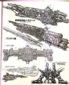 Megaroad-01, VF-4, and SDF-1 Macross lineart