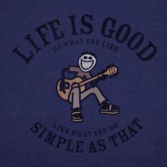 Men's Simple As That Guitar Short Sleeve Crusher Vee |Guitar Tee Shirts | Life is good