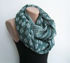 Green infinity scarf, wool blend circle scarf, lightweight autumn scarf, geometric scarf