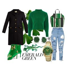 """""""green feels"""" by asetriqu-x ❤ liked on Polyvore featuring Frances Valentine, BERRICLE, Gucci, Topshop and Roberto Cavalli"""