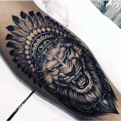 Guys Shaded White Ink Lion Tattoo On Leg Calf