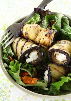 Hemelse salade met gevulde aubergines