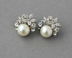 Crystal pearl wedding stud earrings $37.40