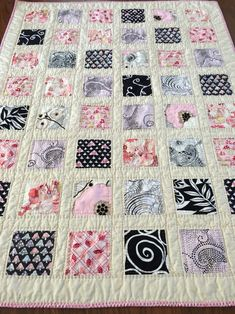Modern patchwork quilt with fairies | hand quilted girl lap quilt in pink | handmade baby quilt | fairy fabric | girl crib quilt
