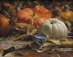 """Maize & Pumpkins""  oil 16"" x 20"" ©Daniel J. Keys 2016 ©This image is under strict copyright to the artist and may not be reproduced in any form."