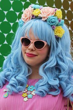 Powder blue hair and flowers. this is only my new favorite person ever.
