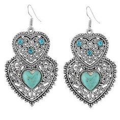 Silver plated turquoise & crystals heart earrings Great silver plated turquoise dangling earrings with blue and clear crystals enhancements. Approximately 6.4 x 3.4 cm. 3 available. Jewelry Earrings