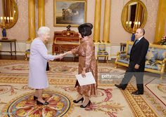 Her Excellency Mrs Teresita de Jesus Vincente Sotolongo the Ambassador of Cuba (right), accompanied by Mr Antonio Rogelio Rodriguez Valcarcel, as she presents her credentials to Queen Elizabeth II in Buckingham Palace on December 3, 2015 in London, England.