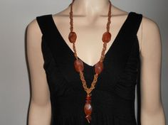 Macramé necklace with semiprecious Brown by AngelaMacrame on Etsy, €65.00