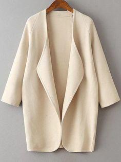 Veste longue col drapé manche raglan - beige