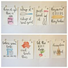 SET OF FOUR Watercolor Kitchen Puns please read door CleverlyBeverly