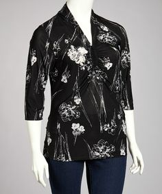 Take a look at this Black & White Floral Three-Quarter Sleeve Top - Plus by Avital on #zulily today!