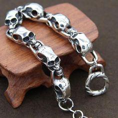 Men's Sterling Silver Skulls Bracelet #men'sjewelry
