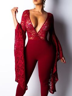 Burgundy Patchwork Lace Bell Sleeve Bodycon Deep V-neck Party Long Jumpsuit Rompers Women, Jumpsuits For Women, Floral Jumpsuit, Black Jumpsuit, Backless Jumpsuit, Strapless Jumpsuit, Denim Jumpsuit, Floral Romper, Long Jumpsuits