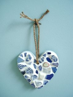 Heart sea pottery ceramic stoneware craft ideas beach ocean tumbled