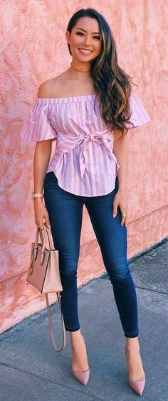 Trendy How To Wear Jeans With Heels Casual Shoes Ideas How To Wear Heels, Dress And Heels, What To Wear, Jeans With Heels, Denim Shoes, Pink Outfits, Casual Outfits, Fashion Outfits, Pink Jeans Outfit