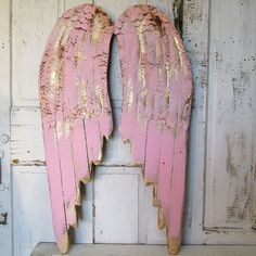 Pink angel wings wall hanging accented gold shabby cottage chic painted rusty wood w/ metal angelic wing set home decor anita spero design