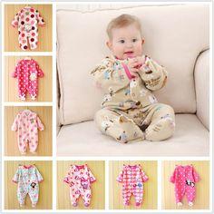 Barato 0 12 M Outono Fleece Macacão de Bebê Bonito Menina Rosa Bebê Roupas…