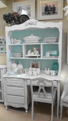 Like this idea for the hutch we just got Kallie. white and turquoise desk/hutch