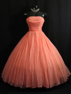 Vintage 1950s 50s Coral Salmon Peach Pink Beaded Ruched CHIFFON Organza Pearls Party Prom Wedding DRESS. $399.99, via Etsy.