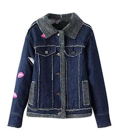 4723ed3b1 Enlishop Women's Girls Blue Fleece Thicken CasualDenim Jean Coat Bomber  Jacket Denim Coat, Denim Jeans