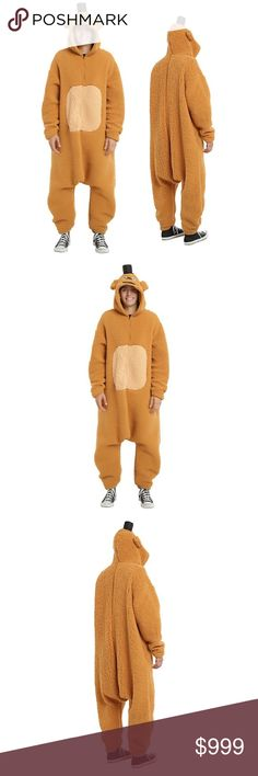 NEW 🕸 Freddy Fazbear Full Body Costume Five Nights At Freddy's  Freddy Fazbear Full Body Costume Kigurumi Onesie   CONDITION: New PRODUCT DETAILS:    We can't think of anything more terrifying than Freddy Fazbear in real life. Super soft union suit from Five Nights At Freddy's with front zipper closure and hood with embroidered Freddy Fazbear face and attached mini top hat.  One size fits most Soft thick plush fabric Roomy oversized fit Hand warmer pockets Hood with ears 100% Polyester Hand…