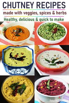 Chutney recipes from Indian cuisine. Collection of delicious, healthy and quick chutney recipes made with veggies, spices and herbs. Easy Chutney Recipe, Indian Chutney Recipes, Healthy Indian Recipes, Veg Recipes, Curry Recipes, Snack Recipes, Cooking Recipes, African Recipes, Gastronomia