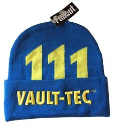 Fallout Vault-Tec 111 Embossed Stitch Logo Blue Cuff Knit Beanie Winter Hat  NWT   255e2a44470d