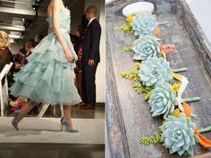 succulent boutonnieres & dress