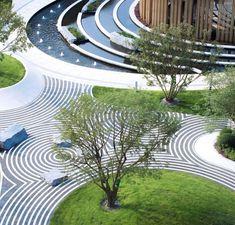 Landscape Stairs, Landscape And Urbanism, Landscape Design Plans, Landscape Architecture Design, Architecture Concept Drawings, Sacred Architecture, Paving Design, Facade Design, Contemporary Landscape