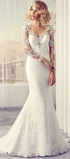 $153.89-Sexy V-Neck Sweep Train Maxi  Appliqued Lace Wedding Dress With Long-Sleeves.  http://www.ucenterdress.com/v-neck-maxi-long-sleeve-appliqued-lace-wedding-dress-with-sweep-train-and-illusion-pMK_705774.html.  Buy best wedding dresses, Lace wedding dress, modest wedding dress, strapless wedding dress, backless wedding dress, wedding dress with sleeves, mermaid wedding dress, plus size wedding dress, We have great 2016 fall Wedding Dresses on sale at #UCenterDress.com today!