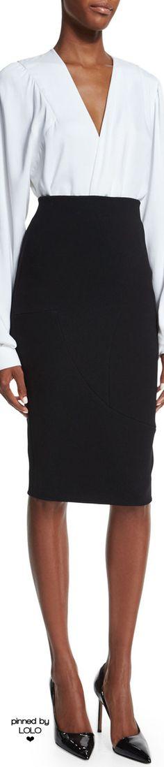 Victoria Beckham Draped-Front Full-Sleeve Blouse & High-Waist Pencil Skirt | LOLO❤