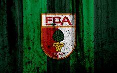 Download wallpapers FC Augsburg, 4k, logo, Bundesliga, stone texture, Germany, Augsburg, soccer, football club, Augsburg FC