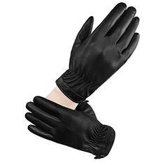 LETHMIK Women's Touchscreen Texting Winter PU Faux Leather Gloves Driving Long Fleece Lined Black-XL *** Check out this great product.