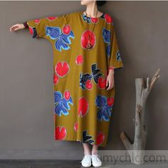 yellow floral casual linen dresses oversize o neck maxi dress