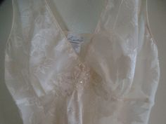 """Nightie negligee baby doll lingerie 2 pc set spaghetti strap slip lingerie ivory sexy lingerie medium large 34"""" 36"""" 38"""" Tillie's Collection"""