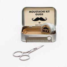 idée cadeau homme moustache - Kit d'entretien pour moustache : peigne à moustache, ciseaux à moutache, cire à moustache naturelle - cadeau original pour moustachu